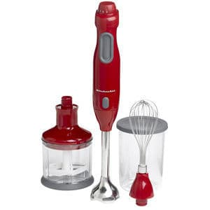 Red immersion blender with attachments