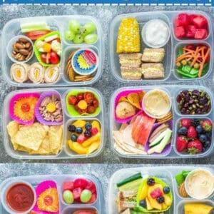 Top view of school lunch box idea in a bento box