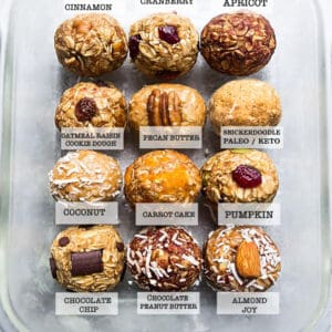 Top view of 12 healthy protein bites with text on a grey background