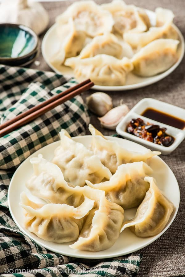 Chinese dumplings on plates