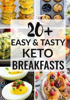 20 Easy and Tasty Keto Breakfasts to kickstart your mornings! A mix of pancakes, muffins, casseroles, waffles, baked eggs, casseroles and more to help you stay on track your low carb high fat lifestyle!