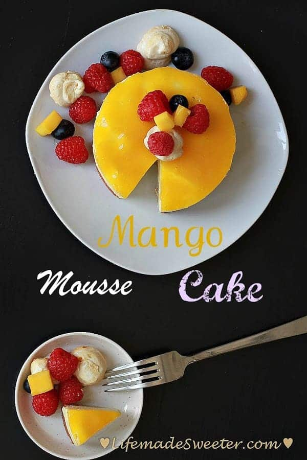 Mango Mousse Cake with fresh fruit