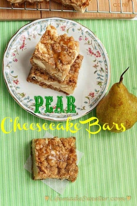 Pear Cheesecake Bars with Caramel & Oat Streusel
