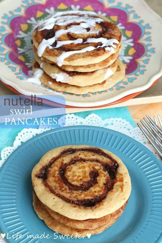 Two images of Nutella pancakes on top of blue and pink plates.