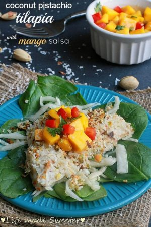 Coconut Pistachio Crusted Tilapia with Mango Salsa