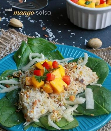 Coconut Pistachio Crusted Tilapia with Mango Salsa