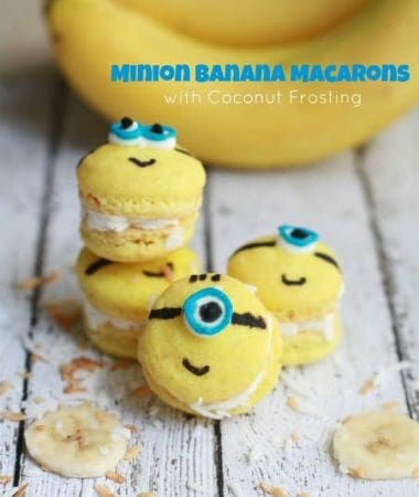 Minion Banana Macarons with Coconut Buttercream Frosting