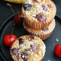 Cherry Banana Muffins with Dark Chocolate Chips {Healthy and GF} by Life Made Sweeter