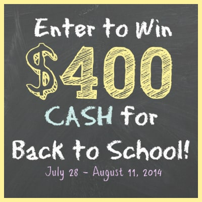 Back to School $400 Cash Giveaway!