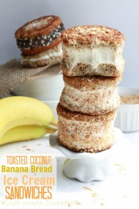 Toasted Coconut Banana Bread Ice Cream Sandwiches {GF} {DF} - Life Made Sweeter