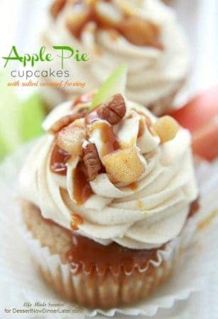 Apple Pie Cupcakes with Salted Caramel Frosting in a clear cupcake liner.