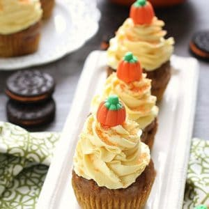 Pumpkin Oreo Cupcakes with Maple Cream Cheese Frosting from @LifeMadeSweeter