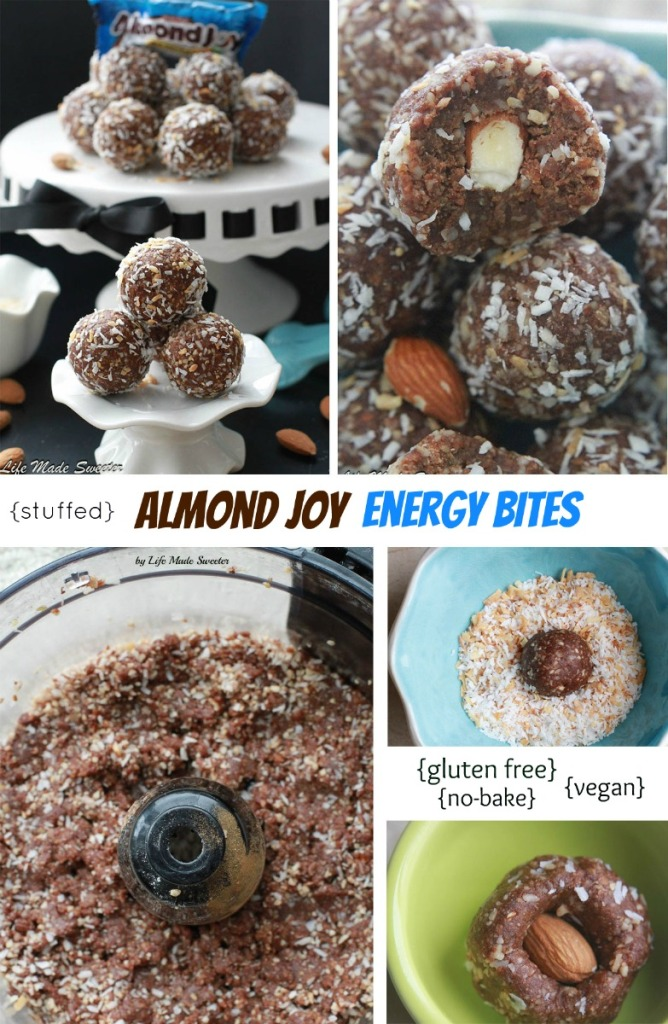 Stuffed Almond Joy Energy Bites from @LifeMadeSweeter