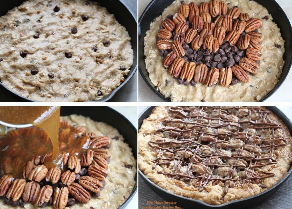 Chocolate Pecan Pie Skillet Cookie @LifeMadeSweeter