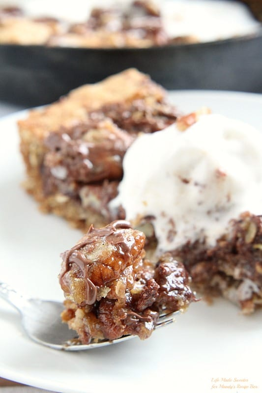 Chocolate Pecan Pie Skillet Cookie by @LifeMadeSweeter