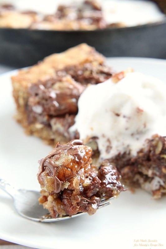 Chocolate Pecan Pie Skillet Cookie by @LifeMadeSweeter