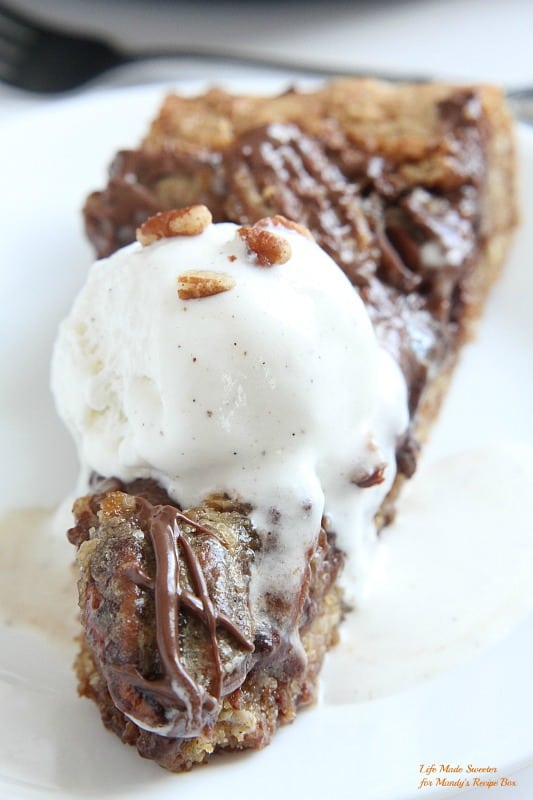Chocolate Pecan Pie Skillet Cookie from @LifeMadeSweeter