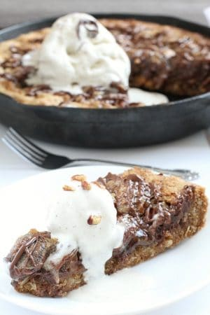 Chocolate Pecan Pie Skillet Cookie via @LifeMadeSweeter