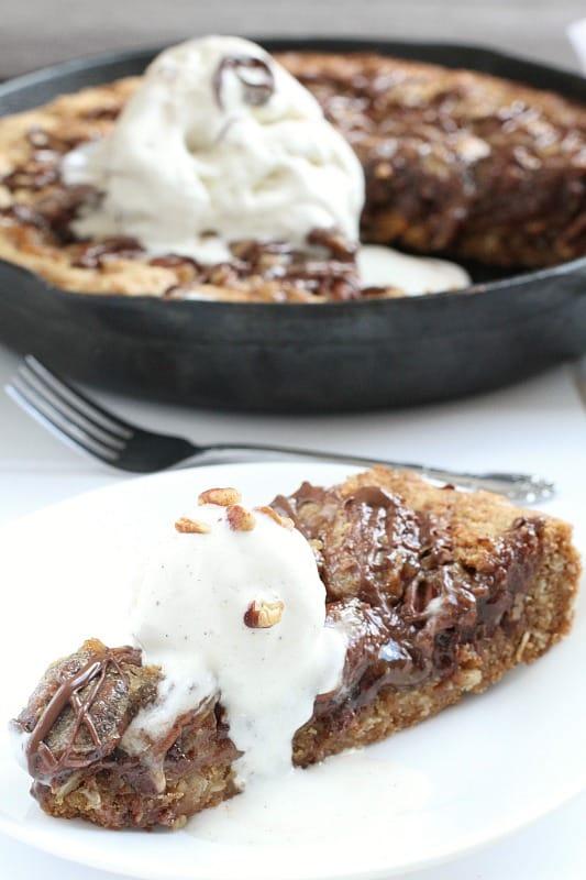 Chocolate Pecan Pie Skillet Cookie via @LifeMadeSweeter