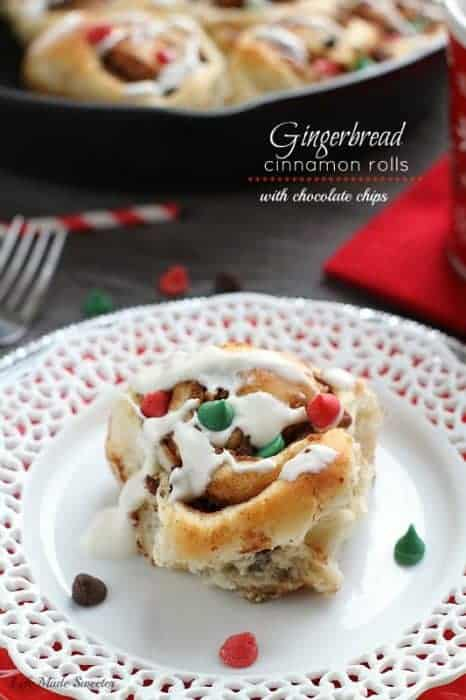 Gingerbread Cinnamon Rolls with Chocolate Chips