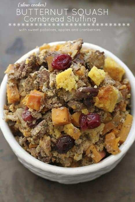 {Slow Cooker} Butternut Squash Cornbread Stuffing with Sweet Potatoes, Apples and Cranberry