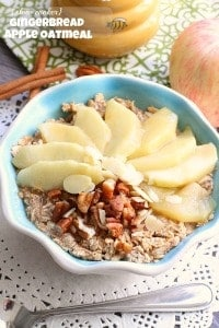 {Slow Cooker} Gingerbread Apple Oatmeal by @LifeMadeSweeter