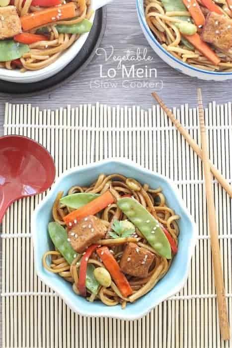 Easy Slow Cooker Vegetable Lo Mein Noodles