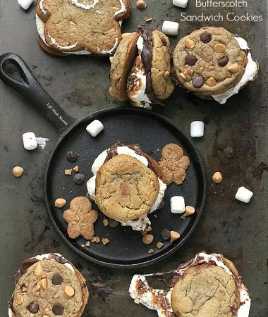 Gingerbread Butterscotch S'mores Sandwich Cookies -- by @LifeMadeSweeter #ChipitsHoliday