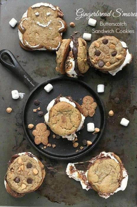 Gingerbread Butterscotch S'mores Sandwich Cookies