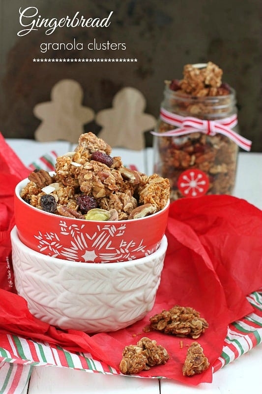 Gingerbread Granola Clusters - Start your morning off with all the flavors of classic gingerbread in a spiced and flavorful granola with big crunchy clusters @LifeMadeSweeter