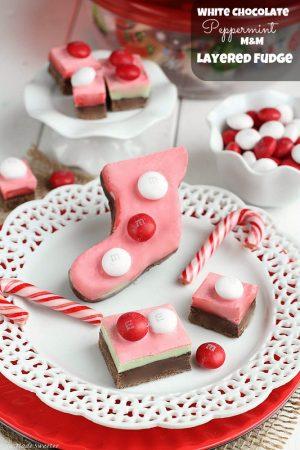White Chocolate Peppermint Layered Fudge