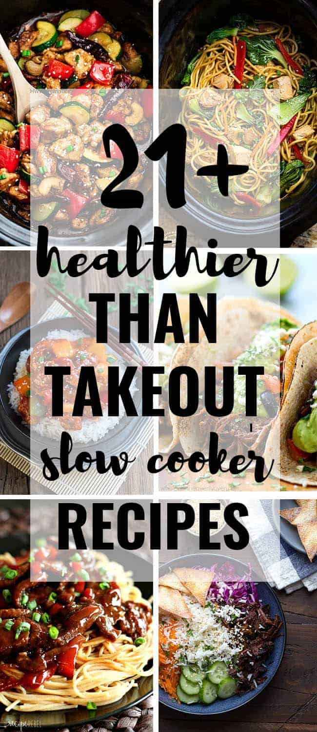 21 Healthier Than Takeout Slow Cooker Recipes! Everything from your favorite Chinese Kung Pao Chicken, Korean Beef, Mexican Tacos to Indian Butter Chicken - this delicious collection has it all. Best of all, these easy recipes are perfect for those busy weeknights so you can skip the takeout! These are WAY better!