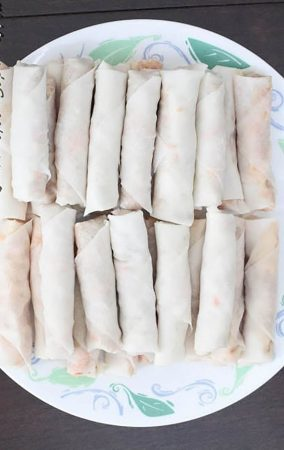 Two rows of Chinese Spring Rolls on a plate