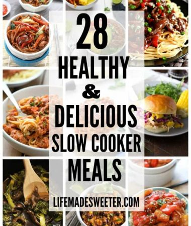 28 Healthy & Delicious Slow Cooker Meals are full of flavor and perfect for busy weeknights. Not just for boring soups - this is the year to rock your slow cooker!