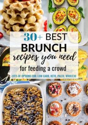 Collage of the best brunch recipes with pancakes, waffles, french toast bake, and eggs.