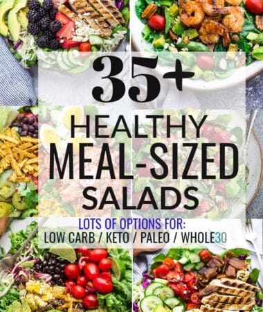 Collage with 6 Healthy Meal-Sized Salads