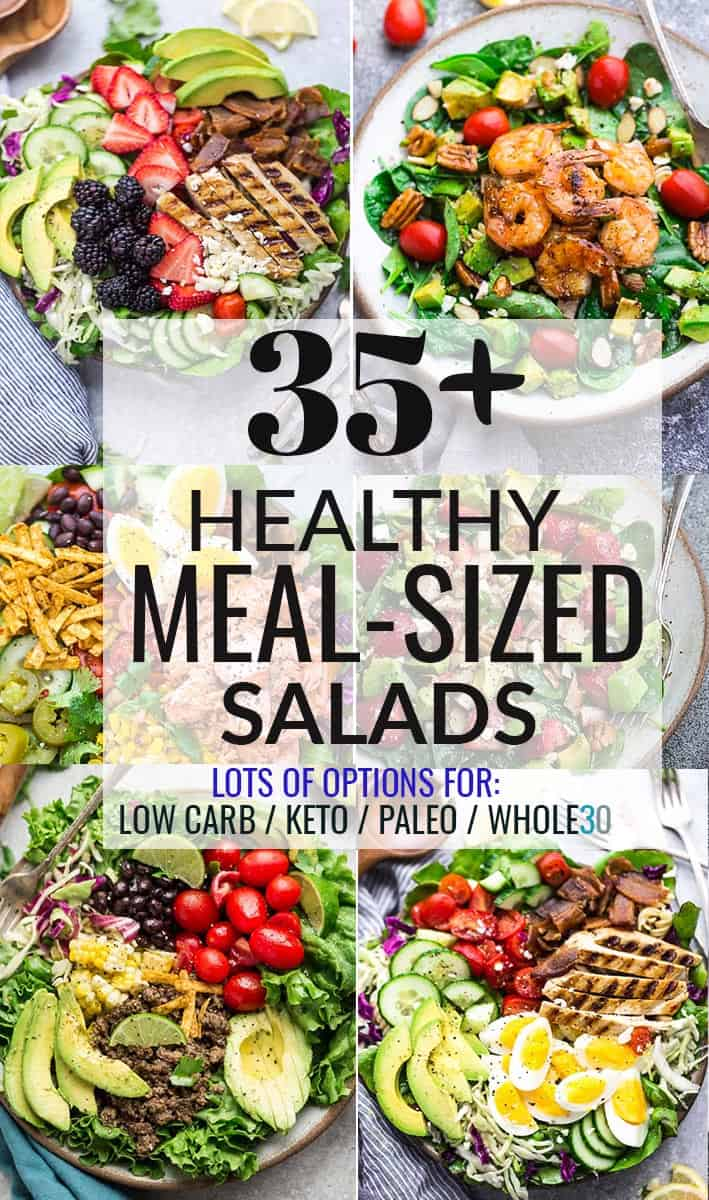 Collage for 35+ Healthy Meal-Sized Salads