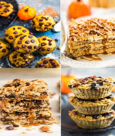 4 of the BEST Easy Pumpkin Recipes for Fall - Pumpkin Icebox Cake, Pumpkin Oatmeal Carmelitas, Pumpkin Baked Oatmeal and Pumpkin Chocolate Chip Muffins.