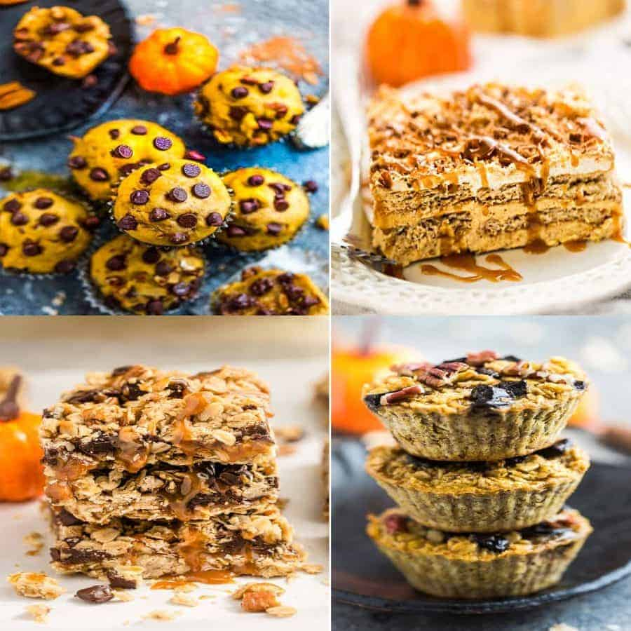 4 of the BEST Easy Pumpkin Recipes for Fall - Pumpkin Icebox Cake, Pumpkin Oatmeal Carmelitas, Pumpkin Baked Oatmeal and Pumpkin Chocolate Chip Muffins.