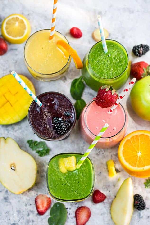 5 of the BEST tasting and Easy to make Smoothie Recipes that will help you with your healthier eating goal this year! Paleo, Whole 30 compliant with no bananas, dairy and refined sugar free!