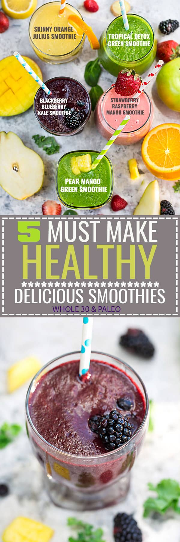 5 of the BEST tasting and Easy to make Healthy Detox Smoothie Recipes that will help you with your healthier eating goal this year! Paleo, Whole 30 compliant with no bananas, dairy and refined sugar free!