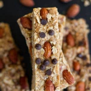 5 Ingredient Granola Bars with almond butter are sweet, chewy and super easy to make in only ONE pot