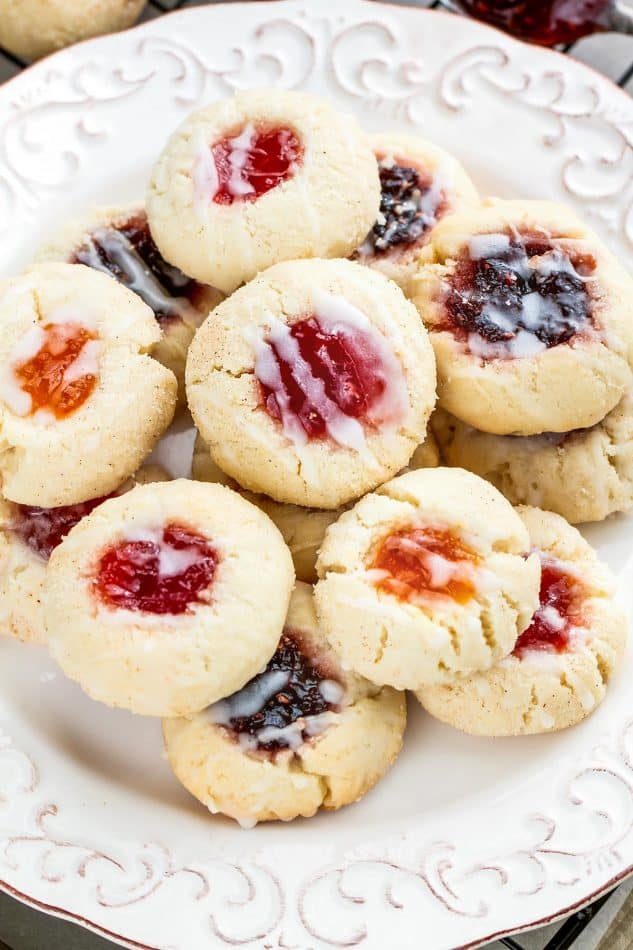Jelly-filled Shortbread Thumbprint Cookies on a plate