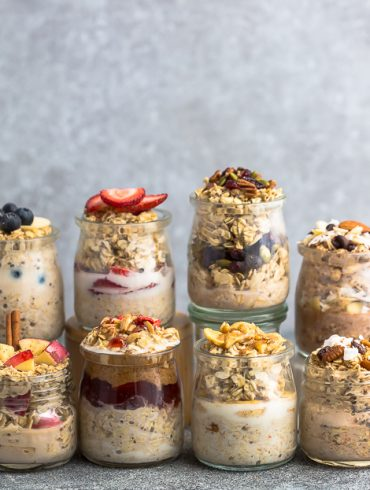 Overnight Oats - 8 Ways - simple no-cook make-ahead oatmeal just perfect for busy mornings. Best of all, easy to customize with your favorite flavors. Almond Joy, Apple Cinnamon, Banana Nut, Blueberry, Carrot Cake, Peanut Butter & Jelly, Pumpkin Cranberry and Strawberry.