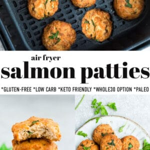 Pinterest image for air fryer salmon patties with black text.