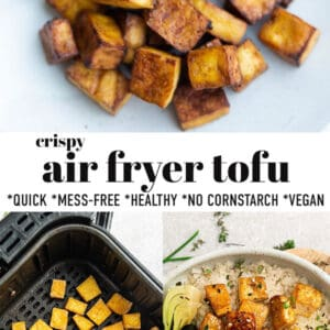 Pinterest collage for air fryer tofu.