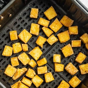 Pinterest graphic for tofu in air fryer.