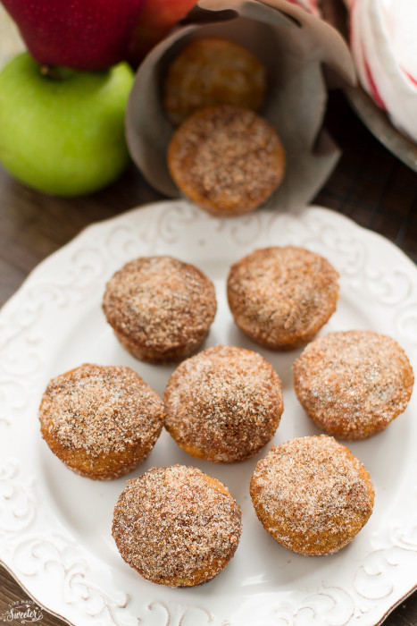 Apple Cider Donut Muffins coated in Cinnamon Sugar filled with a Salted Caramel Filling
