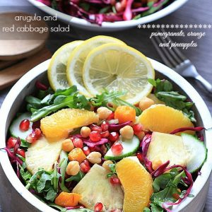 Arugula Salad with Red Cabbage, Pomegranate, Orange and Pineapples from -- @LifeMadeSweeter