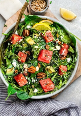 Overhead view of Arugula Watermelon Salad in a bowl